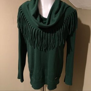 Michael Kors Women's Deep Green Fringe Sweater M